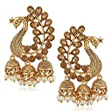 MEENAZ Traditional South indian Temple Ethnic Zinc Metal Alloy 18K High Gold Plated Party wear Pearl Moti Peacock Jhumki Triple Jhumka Earrings for Women Girl Ladies Stylish latest design