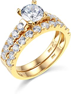 TWJC 14k Yellow OR White Gold Solid Wedding Engagement Ring and Wedding Band 2 Piece Set
