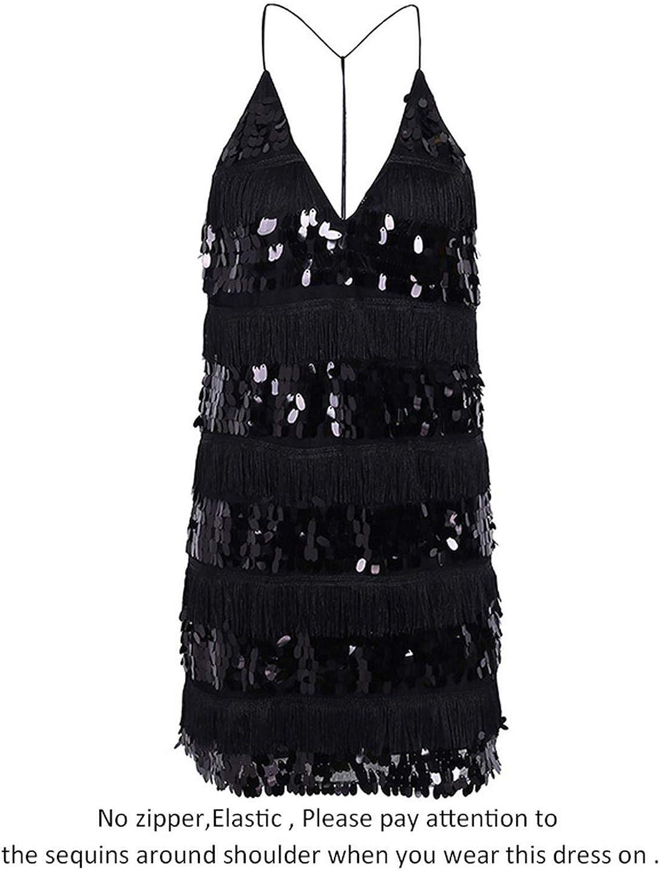 HKbeaty V Neck Sequin Tassels Sundress Backless Black Mini Sexy Party Short Dress Women Vestido