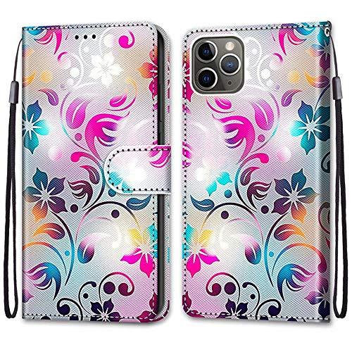 """Nadoli Handyhülle Leder für iPhone 12 Pro Max 6.7"""",Bunt Bemalt Gradient Bunt Blumen Trageschlaufe Kartenfach Magnet Ständer Schutzhülle Brieftasche Ledertasche Tasche Etui"""