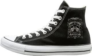 JayKi Johnny Cash American Rebel Unisex Canvas Sneaker Sport Shoes Black
