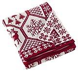 SARO LIFESTYLE Sevan Collection Christmas Design Knitted Throw Blanket, 50' x 60', Red Tone