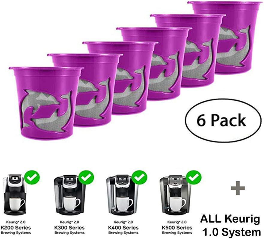 Refillable K Cups Reuse Coffee Filters For Keurig Brewers Fits K200 K300 K400 K500 Series And All 1 0 Brewers Purple 6 Pack