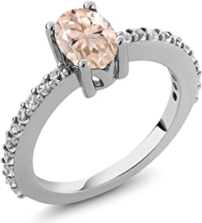 Peach Morganite and White Created Sapphire 925 Sterling Silver Women's Ring 0.95 Ct Oval Available in (Available 5,6,7,8,9)