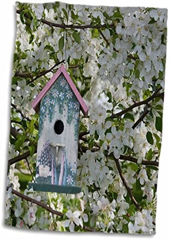 """3D Rose Nest Box in Blooming Sugartyme Crabapple Tree. Marion Illinois USA. TWL_208430_1 Towel, 15"""" x 22"""""""