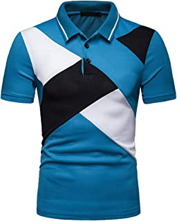 Polo Man! Casual Slim Top Blouse Patchwork Short Sleeve T Shirt