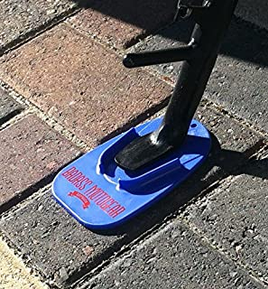 TM DELUXEMOTO BLUE Motorcycle Kickstand Pad Hard Motorcycle Parking Stand for Harley Davidson Durable Kick Stand Coaster Support Plate Helps Park Your Bike on Hot Pavement Grass Soft Ground