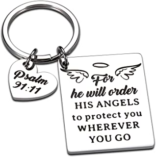 Bible Verse Keychain Religious Faith Christian Gifts for Women Men for He Will Order His Angels to Protect You Wherever Yo...