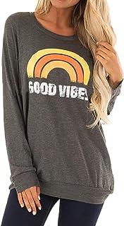 MAXIMGR Good Vibes Sweatshirt T-Shirt Women Rainbow Letter Print Long Sleeve Casual Tops Pullover Blouse