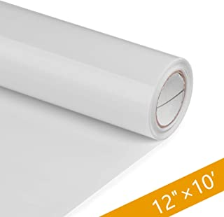 PU HTV Vinyl Rolls - 12 Inch × 10 Feet Heat Transfer Vinyl, Easy Cut & Weed Compatible with Cameo Silhouette & Cricut, Iron on Vinyl for Design DIY T-Shirts, Hats, Clothing and Other Textiles(White)