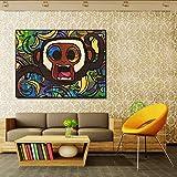 N/A Mokey und Bananen Leinwand Kunst Wandbilder für Wohnzimmer Gesicht moderne Malerei Wohnkultur...