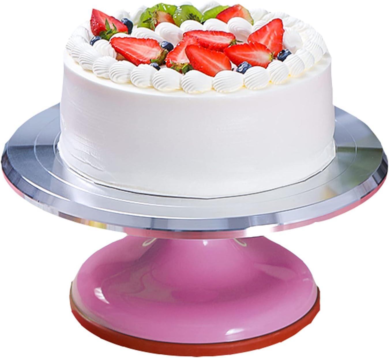 SHPEHP Soporte De Torta Giratoria De Aleación De Aluminio,12inch Cake Turntable Rotating Revolving Decorating Stand Pastelería Baking Decor Tool For Cookies Cupcake-Rosa 12 Pulgadas