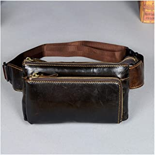 Vintage Men Belt Waist Packs Genuine Leather Waist Bags Travel Male Shoulder Messenger Bag Phone Pouch Fanny Pack Chest Bags (Color : Coffee, Size : S)