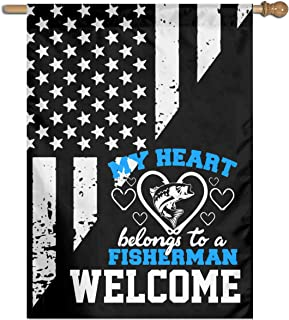 My Heart Belongs To A Fisherman Welcome Yard Garden Flag Polyester Banners Patio Seasonal Holiday Family Flag Decorative House Yard Flag Garden Outdoor Decoration 27