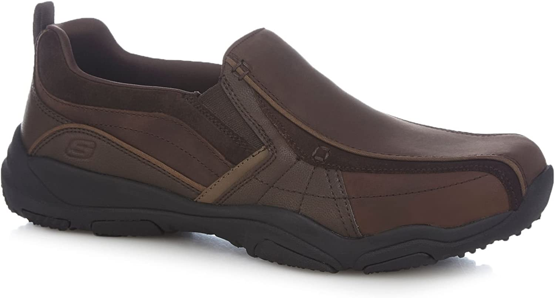 Skechers Men Brown Leather 'Lanson Berto' Slip On shoes