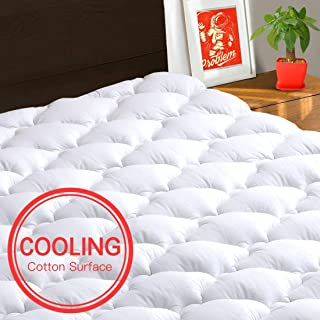 TEXARTIST Mattress Pad Cover Queen, Cooling Mattress Topper, 400 TC Cotton Pillow Top..