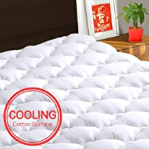TEXARTIST Mattress Pad Cover Queen, Cooling Mattress Topper, 400 TC Cotton Pillow Top with 8-21