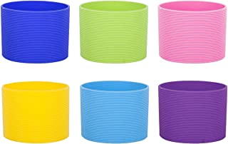 Aspire 6PCS Silicone Coffee Cup Sleeve Heat-Resistant Assorted Colors, 2-1/2