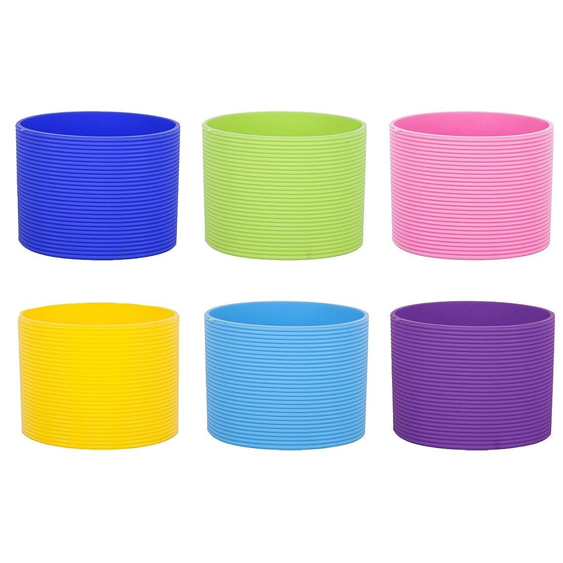 閉じ込めるチャンピオンシップ未知のASPIREリサイクルシリコンコーヒースリーブ盛り合わせ色、6個、2-1/2