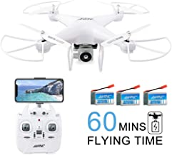 60Mins Flight Time Drone, JJRC H68 RC Drone with 720P HD Camera Live Video FPV 6-Axis Gyroscope Quadcopter with Headless Mode, Altitude Hold Helicopter with 3 Batteries(20Mins + 20Mins + 20Mins)-White