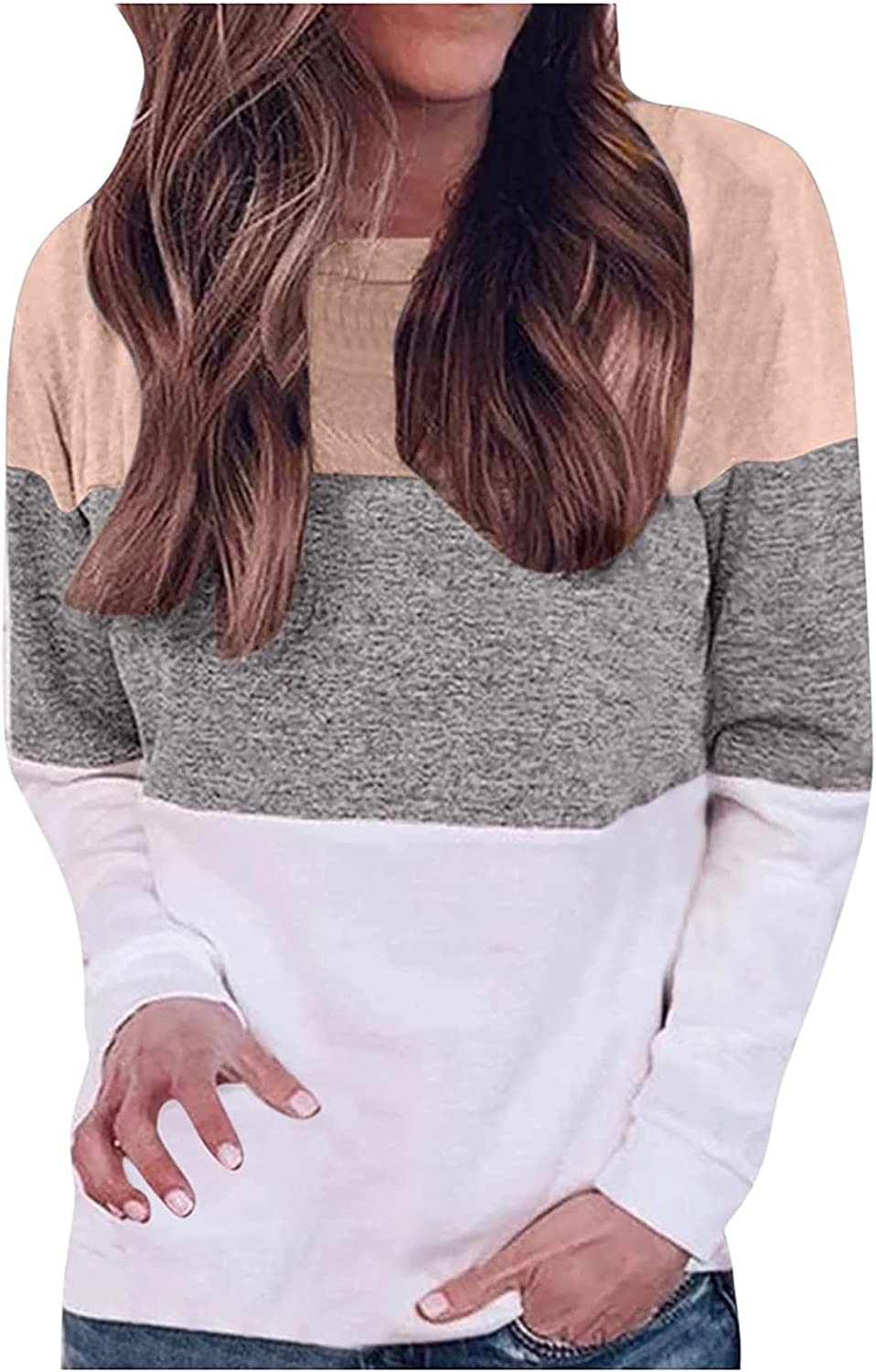 Womens Long Sleeve O Neck Tunic Tops Casual Color Splicing Pullover Shirts Soft Loose Street Tops Sweatshirts