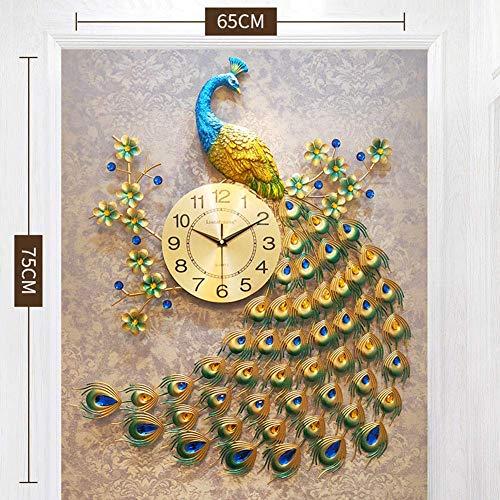 Peacock Wall Clock Simple Modern Euran Room rustige sfeer Muur Map Quartz zakhorloge alarm clock (Color : A)