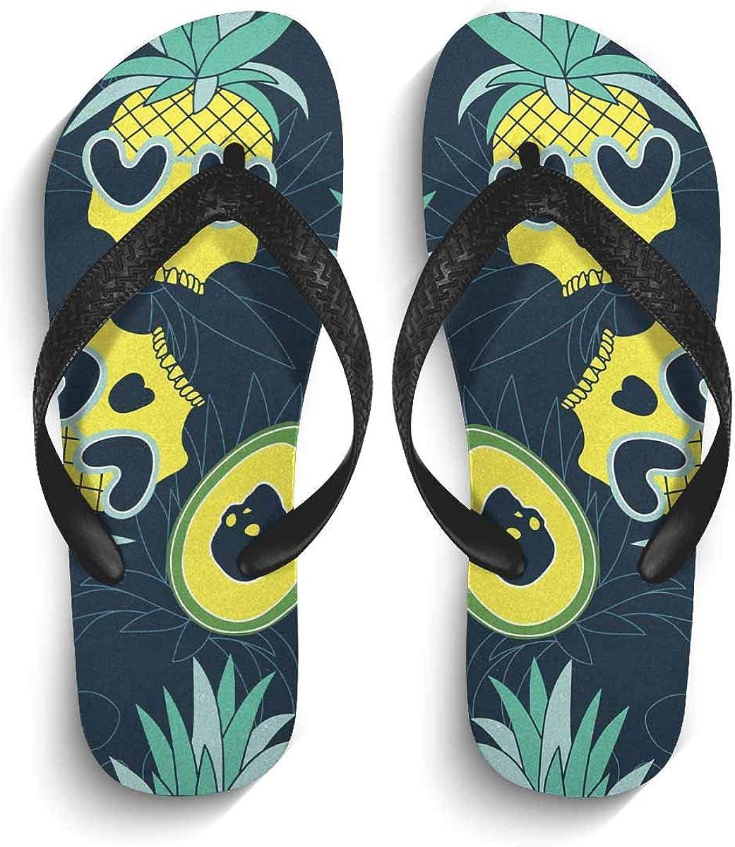 INTERESTPRINT Men's Non-Slip Flip Flop Slippers Sugar Skull Pattern Day of the Dead Beach Thong Sandal
