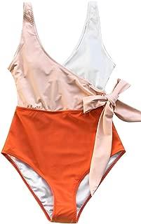 CUPSHE Women's Modest Swimwear Orange White Bowknot Bathing Suit Padded One Piece Swimsuit