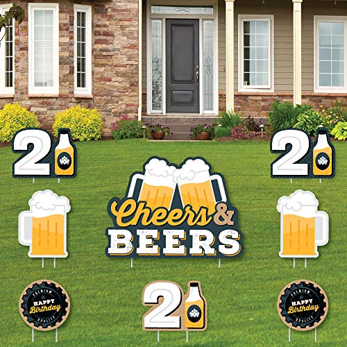 Big Dot of Happiness Cheers and Beers to 21 Years - Yard Sign and Outdoor Lawn Decorations - 21st Birthday Party Yard Signs - Set of 8