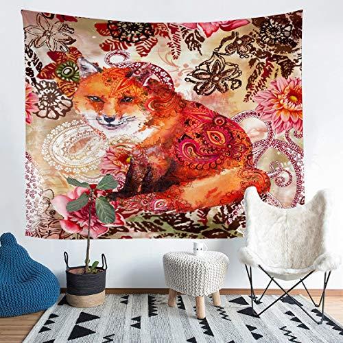 Tapiz de pared con diseño de zorro de dibujos animados para niños y niñas, bohemio, para colgar en la pared, diseño floral exótico tribal para dormitorio, sala de estar, 152 x 223 cm