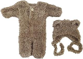 BMBN Baby Romper, Pasgeboren Fotografie Props Outfit Baby Romper Hoed Set Baby's Foto Schieten Mutsen Cap Bodysuit Bruin