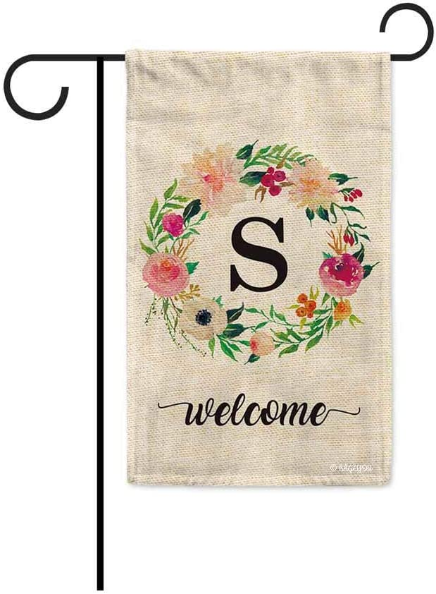 BAGEYOU Welcome Spring Watercolor Flowers Wreath Garden Flag Monogram Letter S Decor Banner for Outside 12.5x18 Inch Print Double Sided