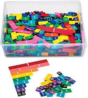 hand2mind Plastic Rainbow Fraction Tiles, Montessori Math Materials for Kids to Learn Fraction Equivalence Math Manipulati...
