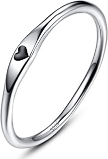 925 Sterling Silver Simple Carve Heart Wedding Band Stackable Promise Ring for Her Size 5-10