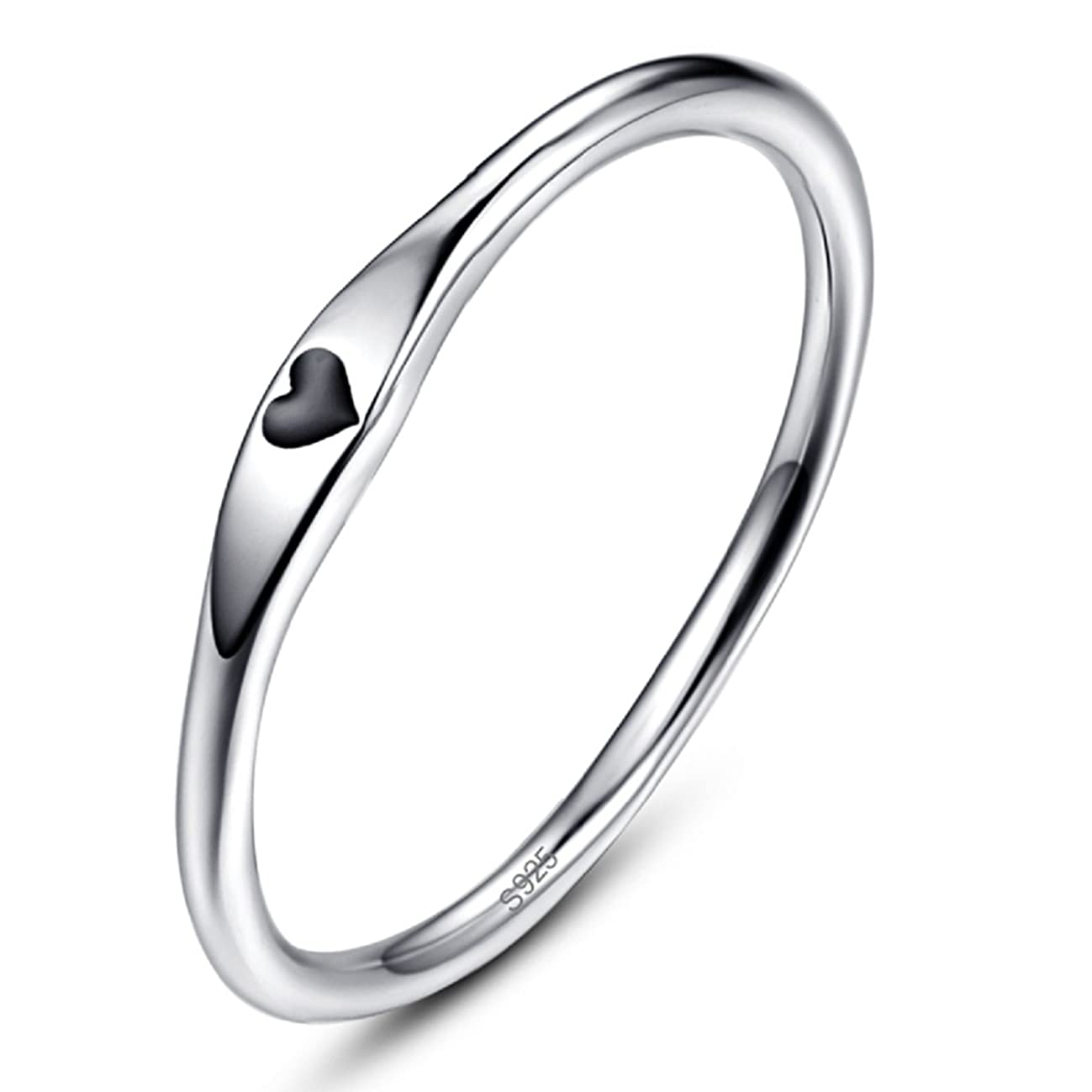 AVECON 925 Sterling Silver Simple Carve Heart Wedding Band Stackable Promise Ring for Her Size 5-10