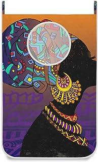 Panier à linge suspendu Silhouette de femme noire porte ethnique / mur / placard suspendu grand panier de sac à linge pour...