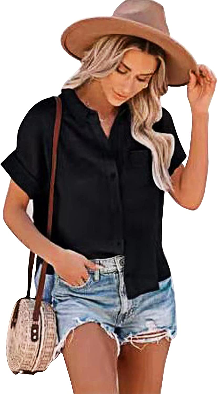 Womens Short Sleeve Limited time cheap sale Cotton Linen Shirts Button New product type Solid Down Loose