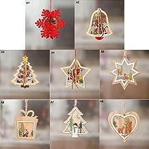 Bois pour DIY Artisanat D/écoration de No/ël WXJ13 Lot de 30 Arbre de No/ël D/écorations Styles de 6 D/écorations de No/ël /à Suspendre en Bois