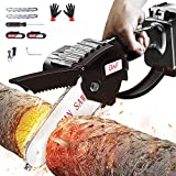 Mini Chainsaw, 24V 3000mAh Pruning Shears Chain saw with 2Pcs Batteries and 2pcs Chains, 4-Inch Cordless Electric Portable Chainsaw For Garden Tree Branch Wood Cutting, One-Hand 1.76lb Lightweight
