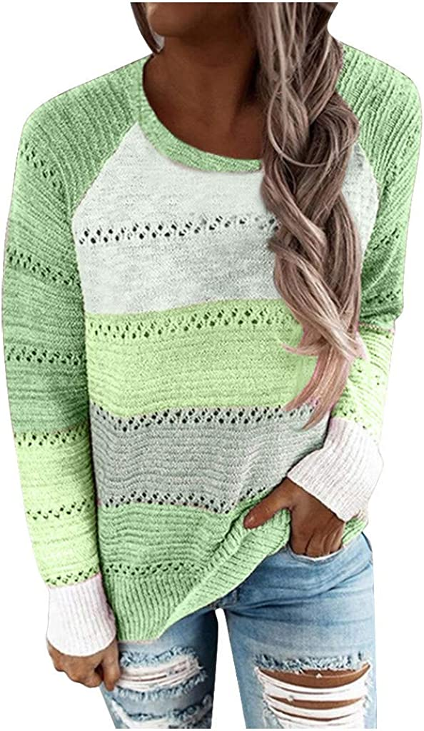 Sweaters For Women,Womens Color Block Striped Hooded Sweaters Fashion Long Sleeve Loose Knitted Pullover Tops
