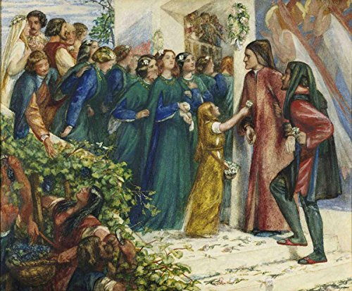 Gifts Delight Laminated 29x24 Poster Dante Gabriel Rossetti - Beatrice Meeting Dante at a Marriage Feast, Denies Him Her