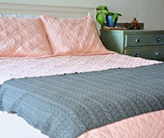 Nottingham Hand Made Diamond Pattern Pink Cotton Queen Size Quilt ~ 98X88 inches ~ kinche favourite!