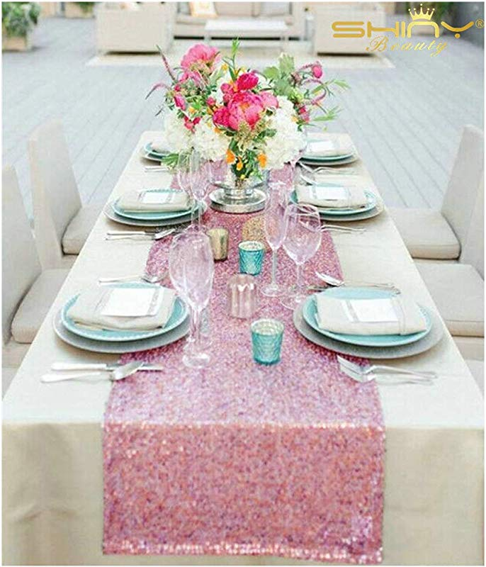 ShiDianYi 12x72 Inch Fushia Pink Sequin Table Runner For Wedding Party Decor 12x72 Inch