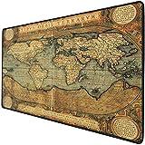 Mouse Pad Gaming Funcional Mapa del mundo Alfombrilla de ratón gruesa impermeable para escritorio Carta antigua antigua Reproducción vintage del siglo XVI Atlas Print,Multi, Base de goma antideslizant