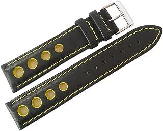 Racing 20mm Black Leather Yellow-Stitch Watch Strap