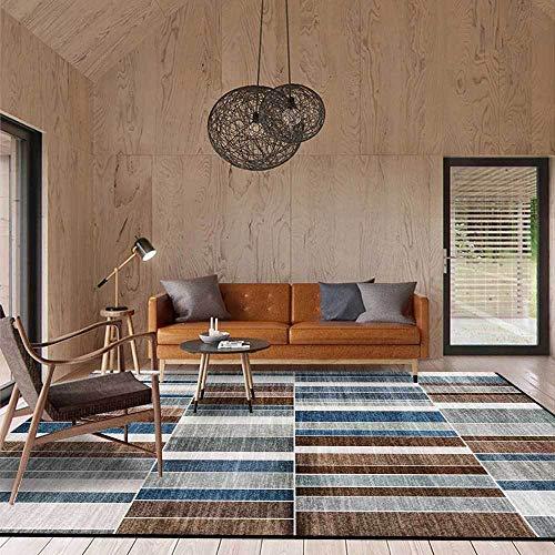 Outdoor-QJ Alfombra Moderna Grande Antideslizante Fácil de Limpiar Diseño Decoración del hogar Costuras geométricas Azul Gris marrón Rayas pequeñas 160x280CM