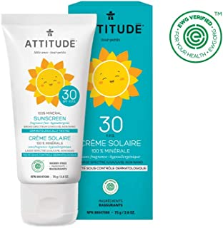ATTITUDE Natural Sun Care, Hypoallergenic Mineral Sunscreen, SPF 30, Fragrance Free, Unscented 2.6 Ounce