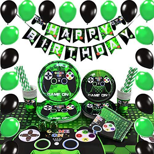 WERNNSAI Jeu de Fournitures de Fête - Party Décoration du Jeu Garçon Anniversaire Favors de Fête Serviettes Plaques Nappe Tasses Bannière Ballons 16 Invités 105 Pièces