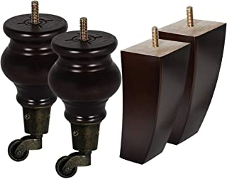 AORYVIC Wood Furniture Legs with Casters Turned Sofa Legs 5.5inch Vintage Replacement Legs for Settee Chair Sofa Cabinet Coffee Table Ottoman Bookshelves Packs of 4