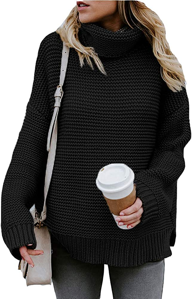 low-pricing Cocobla Women Turtleneck Sweater Classic Chunky Knit Long Sleeve Pullove